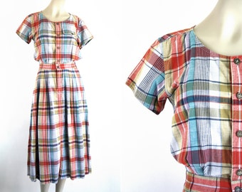 Liz Wear Liz Claiborne Plaid Midi Length Button Down Short Sleeve 80's Woman's Retro Vintage Day Dress