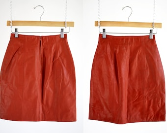 Red Leather CHIA Brand 90's High Waist Zip Back Woman's Retro Mini Skirt
