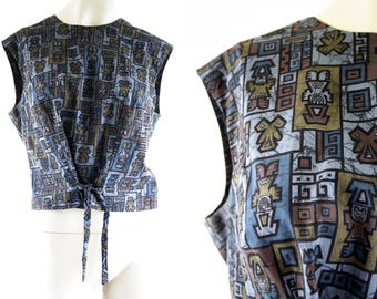 Vintage Aztec Print Glenhaven Cotton Sleeveless Tank Style Drawstring Front Accent Button Back Woman's Retro Blouse