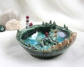 Magical Fairy planet planet with lighthouse - Hand Made Ceramic Eco-Friendly Home Decor by studio Vishnya