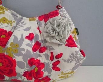 Large Shoulder Bag, Pleated Purse, Hobo Handbag, Floral Shoulder Bag, Gray Handbag, Fabric Shoulder Bag