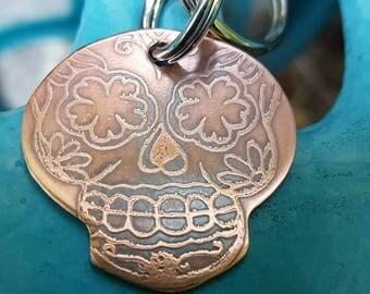 Sugar skull keychain, Calavera keychain, dia de Los muertos, skull keychain, skull etched keychain, ready to ship