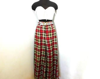Vintage 70s Red Green Plaid Cotton Bell Bottom Wide Leg Pants High Waist Trousers Hippie Chic M Medium 8 10