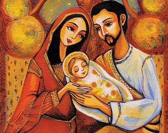 Nativity Holy Family Virgin Mary Jesus mother son tree of life religious painting Christian art, mother son, feminine decor print 7x12+