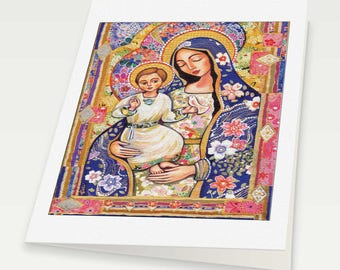 religious folk art icon, Mary and Jesus child, Virgin Mary, Panagia Eleousa, Motherhood art, Christian art, Christian woman card, 6x8