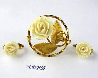 Rose Brooch Set Earring Clip On