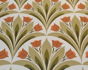 authentic 70s WALLPAPER / entire roll original 1970s wall paper / dutch tulip design / new Old Stock seventies