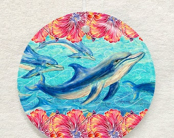 Hibiscus and Dolphins Glass Ornament & Suncatcher, Christmas ornament