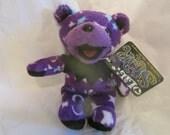 "Deadhead Jerry Garcia Lil Star Bear Cub Purple Moon Star Pattern Bean Bear Liquid Blue Teddy Bear 5"" Groovy Gift"