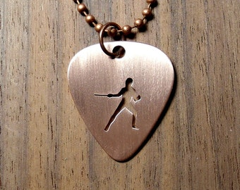 Fencing Necklace, Fencing Pendant, Guitar Pick, Epee, Copper Necklace, Pendant, Keychain, Pick Pendant, Copper Pick, Gift, Fencing Jewelry