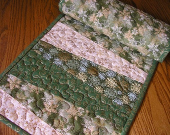 Quilted Table Runner, Christmas Runner,  12 x 41 inches