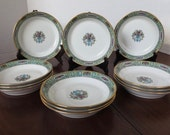 Antique French Limoges Porcelain Fine Dinnerware Set 12 Soup Bowls Wm. Guerin and co.