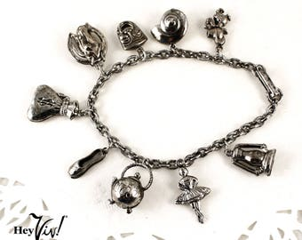 Vintage Charm Bracelet - 9 Charms - Teapot, Ballerina, Good Luck & More - New/Old Stock - Hey Viv