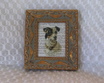Vintage Dictionary Page Hound Dog Print - Framed