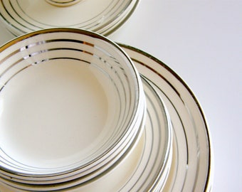 Atomic Art Deco Dinnerware for 6 or 12: Salem Zephyr Platinum Pattern, Streamline, Century & Saphire Shapes - Vintage White Wedding China