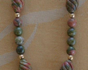 "On sale Pretty Handmade Unakite Semi-Precious Beaded Necklace, Khaki Green, Peach, 14kt GF, 28"""