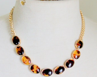 Jones New York Tortoise Shell Gold Tone Necklace
