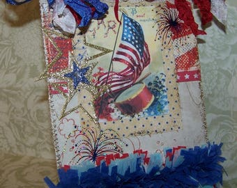 Patriotic Decoration July 4th Decoration 4th of July Decoration Handmade Vintage Style Wall Hanging Plaque