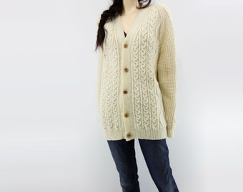 Vintage Aran Sweater 70s Aran Cardigan 70s Fisherman Knit 70s Vintage Cardigan Cream White Cardigan Acrylic Aran Sweater men M women L