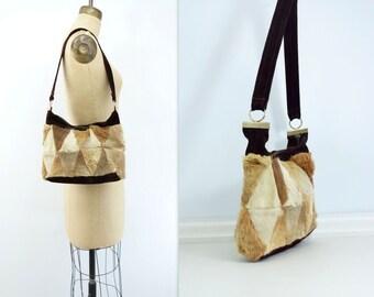 70s Boho Suede Bag Suede Patch Fur Bag 1970s Patchwork Bag 70s Vintage Boho Bag 70s Vintage Purse 70s Shoulder Bag Suede Messenger Bag