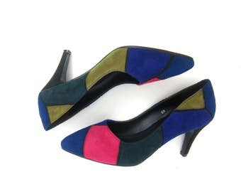 Color Block Pumps Bold Graphic Leather Slip On High Heels Sandals Suede Green Purple Pink Couture Colorblock Womens Size 8
