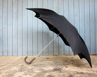 Large Black Umbrella Vintage Umbrella w Leather handle Mid Century Parasol Unisex Rainy Day Hipster Men's Womens Rain Gear