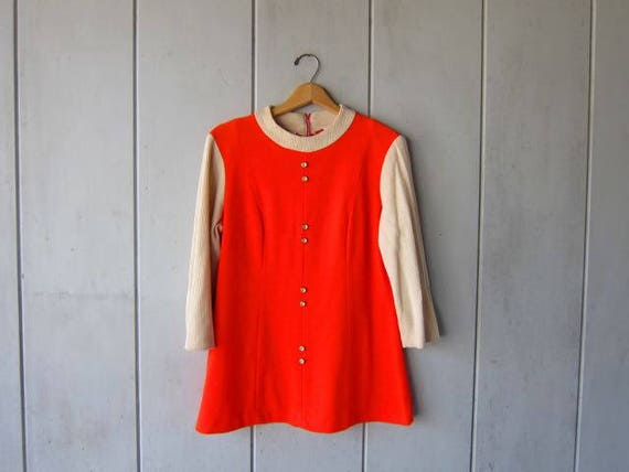 60s Mod Mini Dress Tunic Top Electric Orange Button Up Minidress Ribbed Beige long Sleeves Sixties Vintage Dress DES Womens Medium