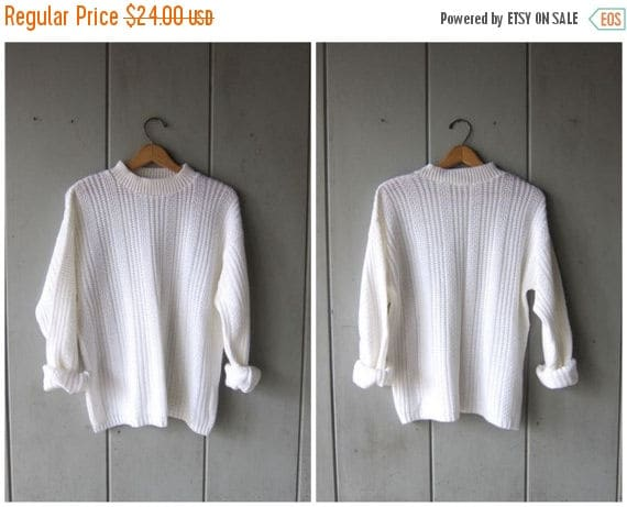 Basic 80s White Knit Sweater Mock Neck Slouchy Pullover Preppy White Sweater 1980s Simple Boho Sweater Womens Medium