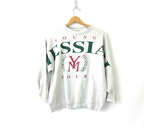 Heather Gray Sweatshirt 90s Young Messiah Tour Vintage Sporty Pullover DES baggy Sweatshirt Athletic Wear Sportswear Size XL Large