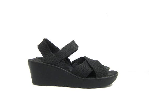 Vintage black PLATFORM sandals Super Tall Elastic Band Strappy Wedge sandals Open Peep toes Grunge Punk Shoes womens size 9.5