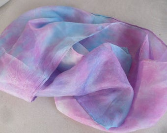 Hand-Dyed China Silk Scarf, 58 Inches Long Scarf, Women Accessories. Ombre Scarf. Tie-Dyed Scarf. Hand-Dyed Cotton Scarf. Dip Dye Scarf.
