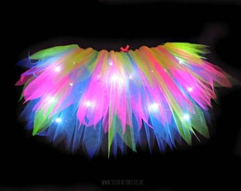 Tutu Factory Vibalights Tutu - Neon Tutu with white LED Lights! Light Up Tutu With Light Raver EDC Outfit Hen Party