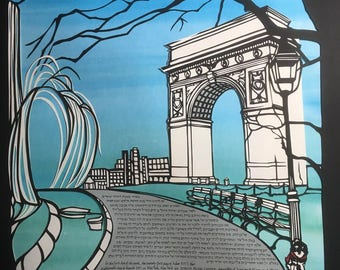 Winter in Washington Square with Arch Pathway and Fountain - multilayer papercut ketubah - hand lettering