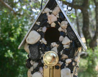 Outdoor Stone Mosaic BIrd House with Keys Drawer Pull Obsidian and Colorful Stones Great Bird Lovers Gift