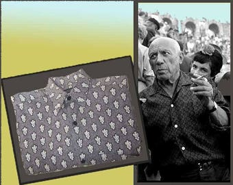 Chanelling Picasso-SOULEIADO Gray/White/Black Long Sleeve Mens Shirt,Made in Provence France,Mens Small,Vintage Fashion,Men