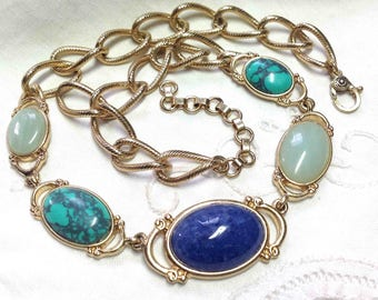Monet Choker Necklace - 18 inches - Gold tone with Simulated Turquoise, Aqua and Lapis Blue Stones - Vintage Signed Classy Elegant choker