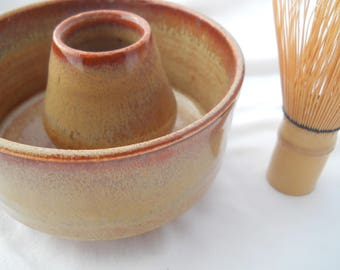 Lt rust matcha bowl and whisk holder