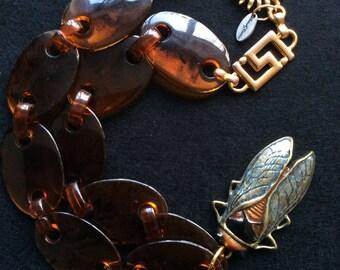 SALE  Boho necklace secada bug insect gypsy bohemian festival faux tortoiseshel l statement assemblage coupon code  RGCSALE