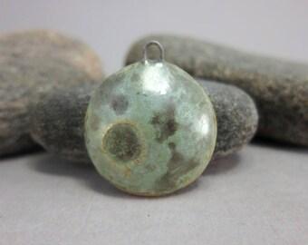 Textured Full Moon.....Stoneware Pendant from elukka...Turquoise Green Crystalline