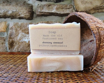 Coconut Soap, Handmade Soap, Scented Soap, Old Fashioned Soap, Coconut Scented Soap, Creamy Lathery Soap