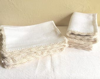 Beautiful Vintage Natural Tan Cream Tablecloth and Matching Napkins with Decorative Edge Square