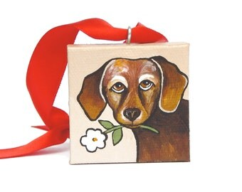 Dachshund Dog Ornament, Valentine's Day Gift, Handmade Ornament, Miniature Art, Dog Lover Gift with Box