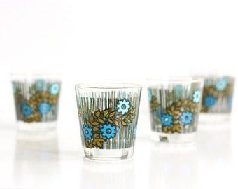 Mid Century Modern Flower Drinking Glasses / Colorful Retro Flower Tumblers / Mid Century Flower Glasses
