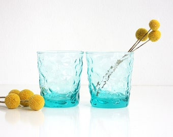 Mid Century Modern Aquamarine Lido Glasses by Anchor Hocking / Retro Aqua Drinking Glasses / Mid Century Turquoise Glassware