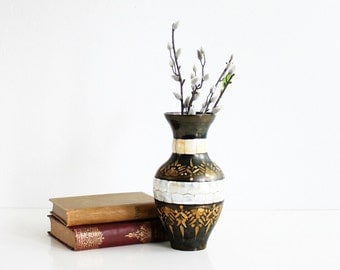 Vintage Etched India Brass Gold and Black Enameled Vase With Mother of Pearl Inlay / Boho Enameled Brass and Pearl Vase / Mid Century Brass