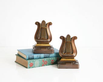 Vintage Brass and Copper Bookends / Art Deco Bookends by PMC / Brass Lyre Music Bookends / Mid Century Brass Bookends
