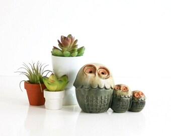 Vintage Stoneware Owl Family / Mid Century California Pottery Owls Figurine / Mid Century Owl Figurine / Vintage Owls Figurine