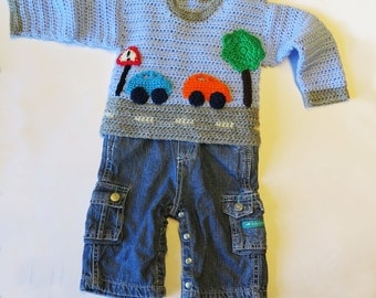 Crochet Baby Sweater with Car Motif - PDF Pattern
