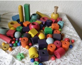 SPRING SALE COLORFUL Wooden Blocks and Beads