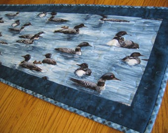 Quilted Table Runner in a Loon Pattern on Teal Blue